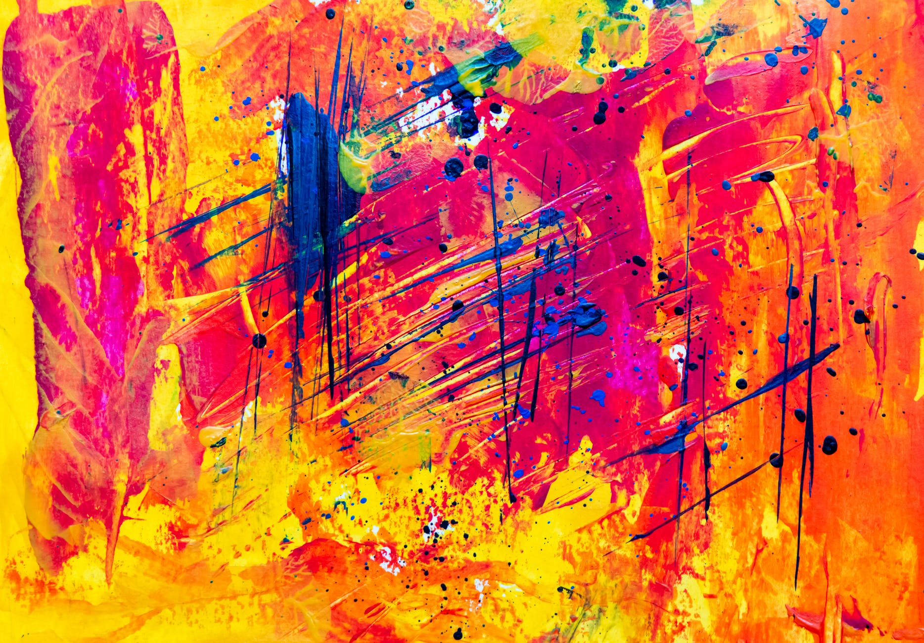 abstract painting yellow red blue