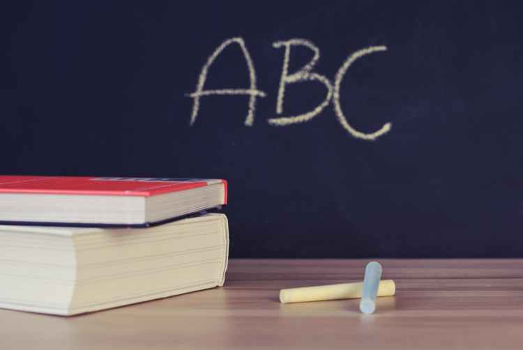 Blackboard with ABC and chalk