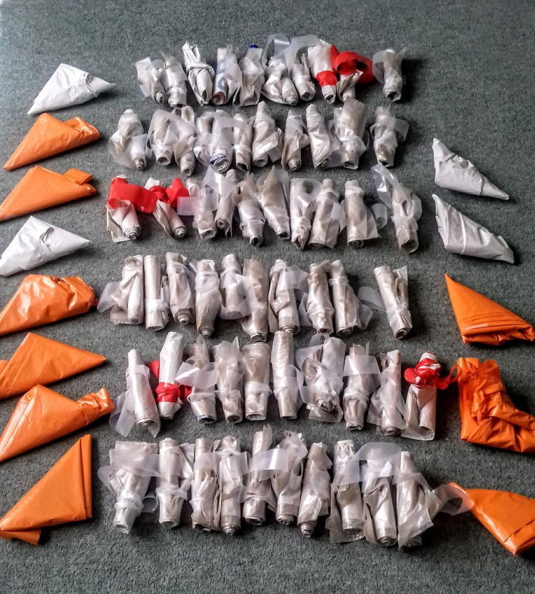 Folded up plastic carrier bags